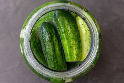 Quick pickled cucumbers in a jar