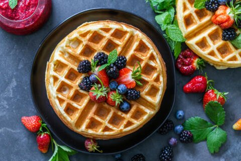 Waffles with berries on a plate