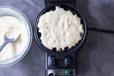 Buttermilk dough in a waffle maker