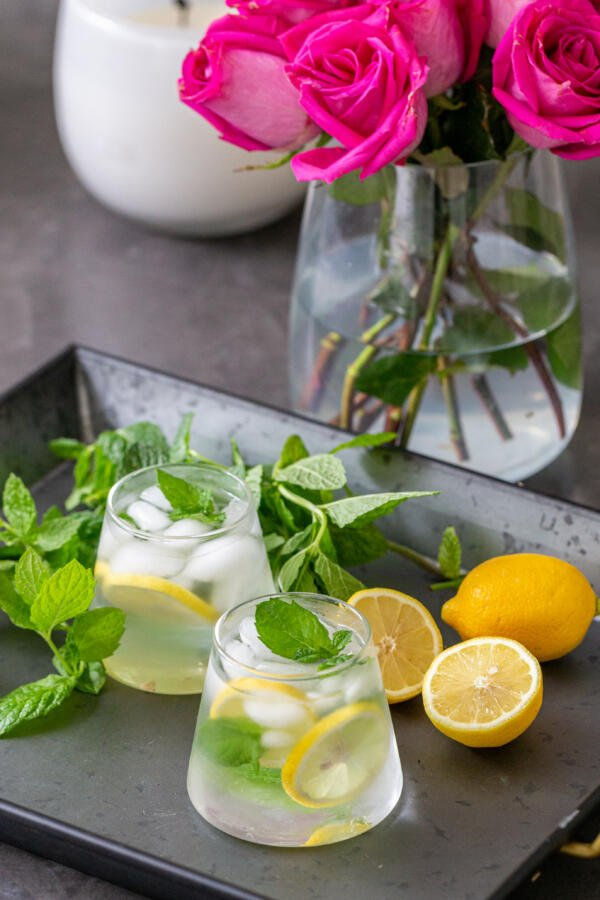 Cup of ice, water, mint and lemon on a tray