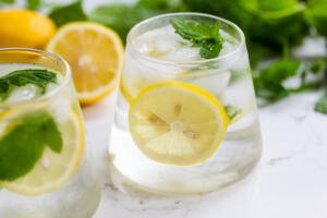 Cup of ice, water, mint and lemon