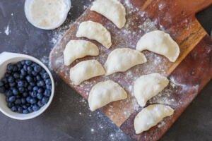Formed blueberry pierogi