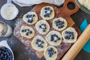Dough filled with blueberry