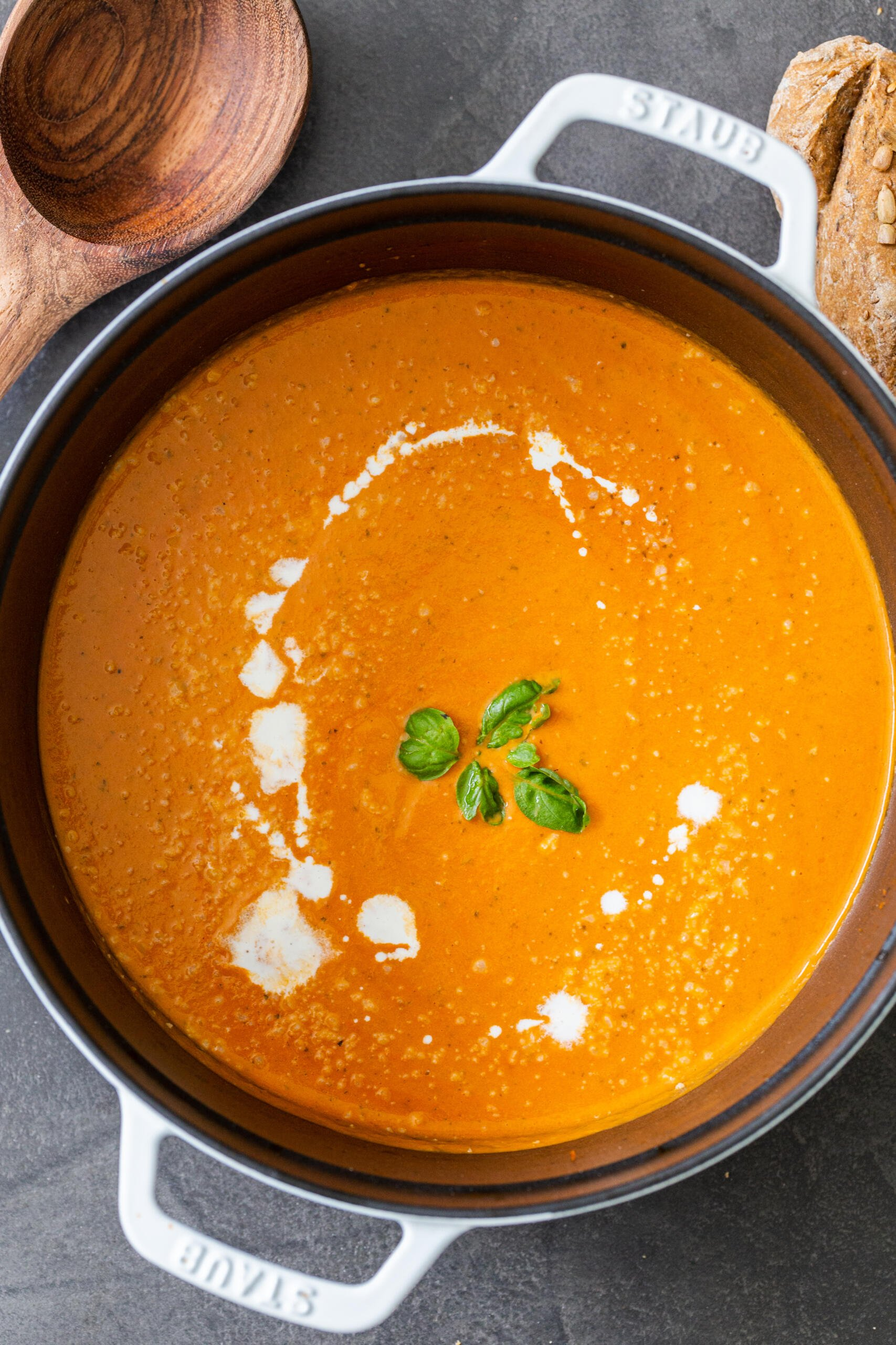 Tomato basil soup in a pot