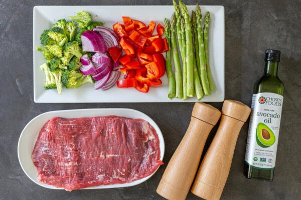 Ingredients for steak and veggies