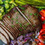 Steak and veggies on a tray