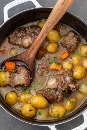 Braised Oxtail in a pot with veggies