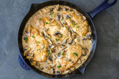 chicken marsala in a pan