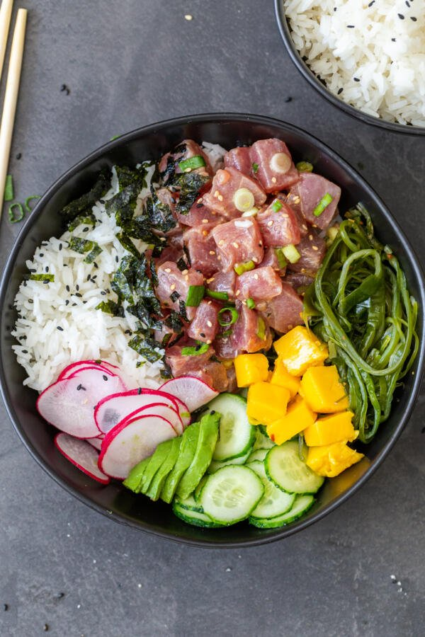 A poke bowl with all the toppings