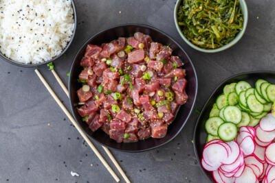 Poke tuna and sides prepared