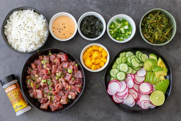 Ingredients for the poke bowl