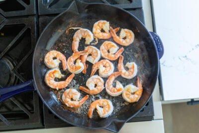 shrimp in a pan frying