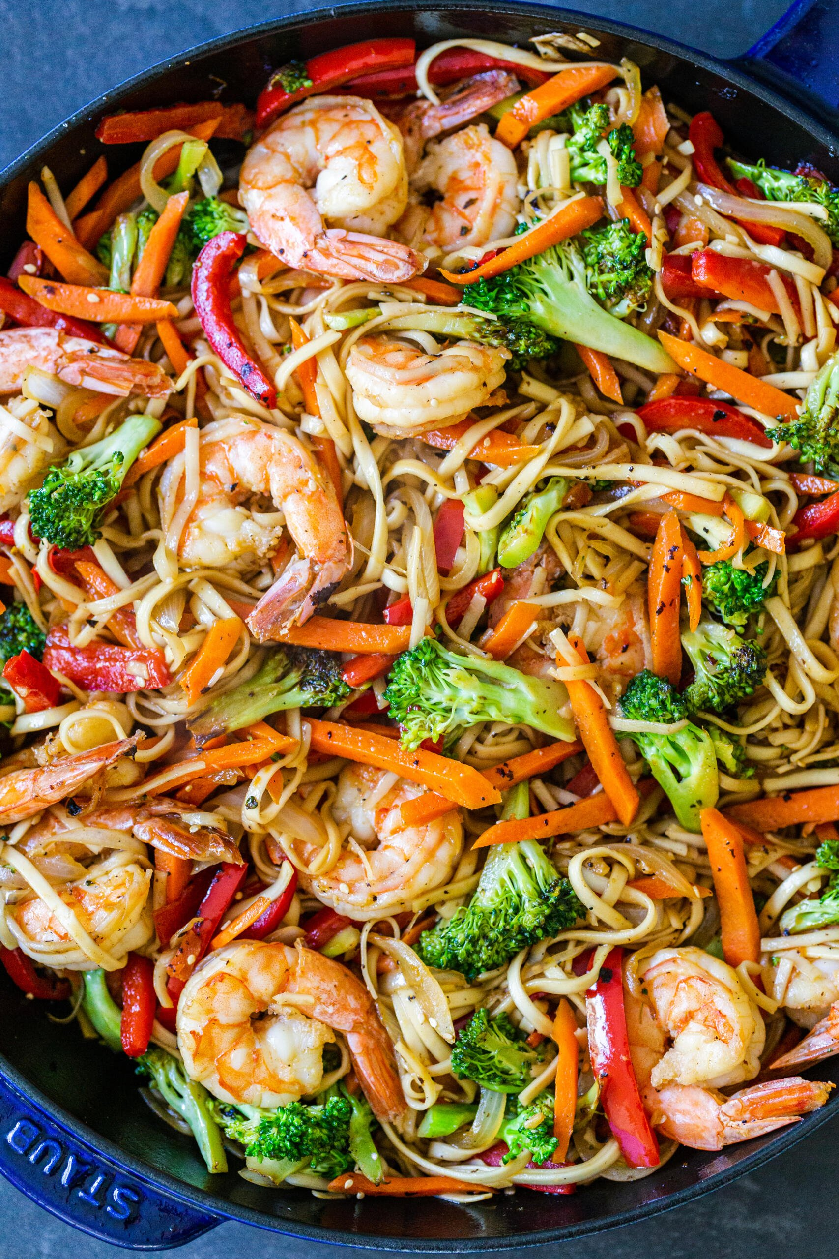 Shrimp Lo mein in a pan
