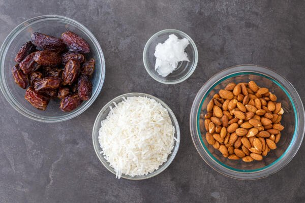 Ingredients for sugar free coconut bars