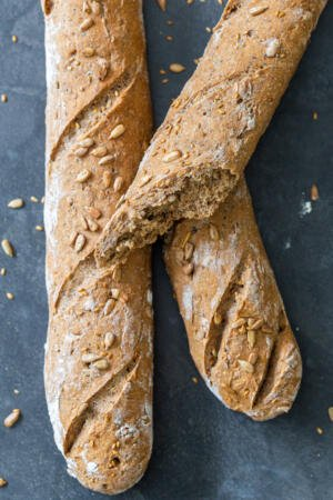 baguette on a counter