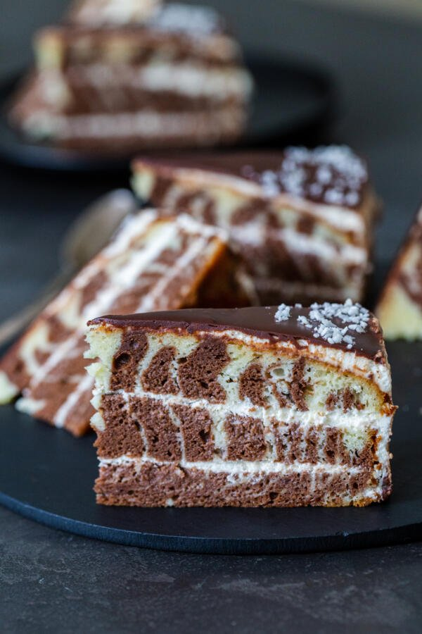 A slice of Zebra cake