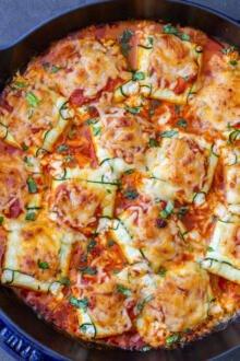Zucchini Ravioli in a pan