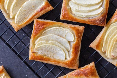 Apple tarts on a cooling rack
