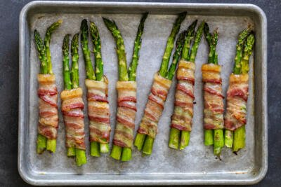 Baked asparagus with bacon wrapped