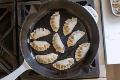 Gyoza in a frying pan