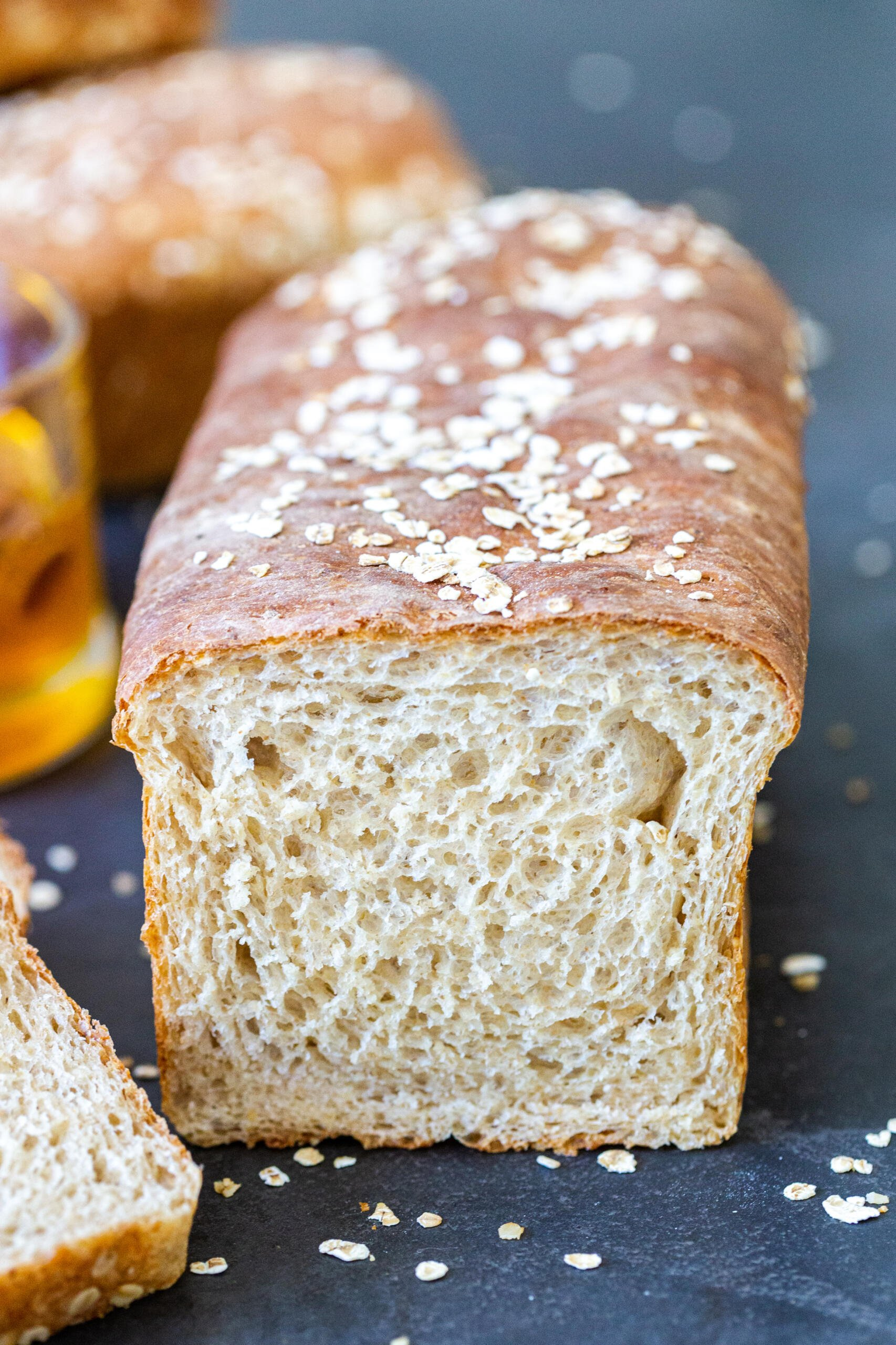 Honey wheat bread cut open