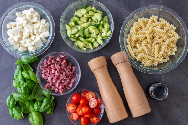 Ingredients for the Italian Pasta Salad