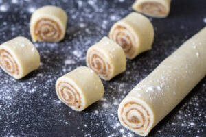 Rugelach dough with filling cut into pieces