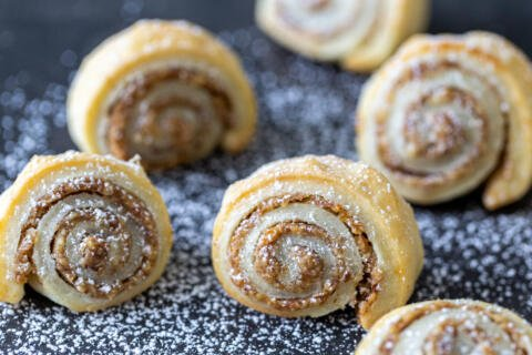 Baked Rugelach with powdered sugar