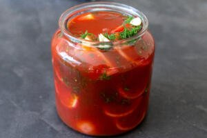 Marinated tomatoes in a jar