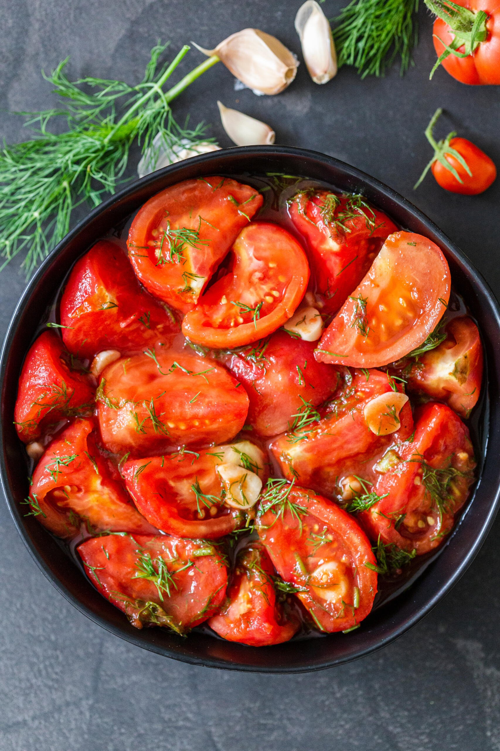Marinated tomatoes in a bowl