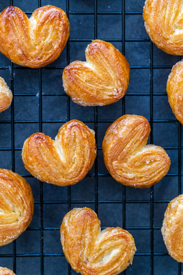 baked palmiers on a cooling rack
