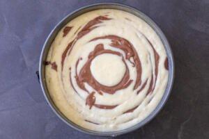 zebra cake in a cake pan