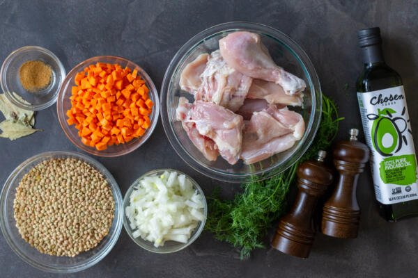 Ingredients for lentin chicken soup