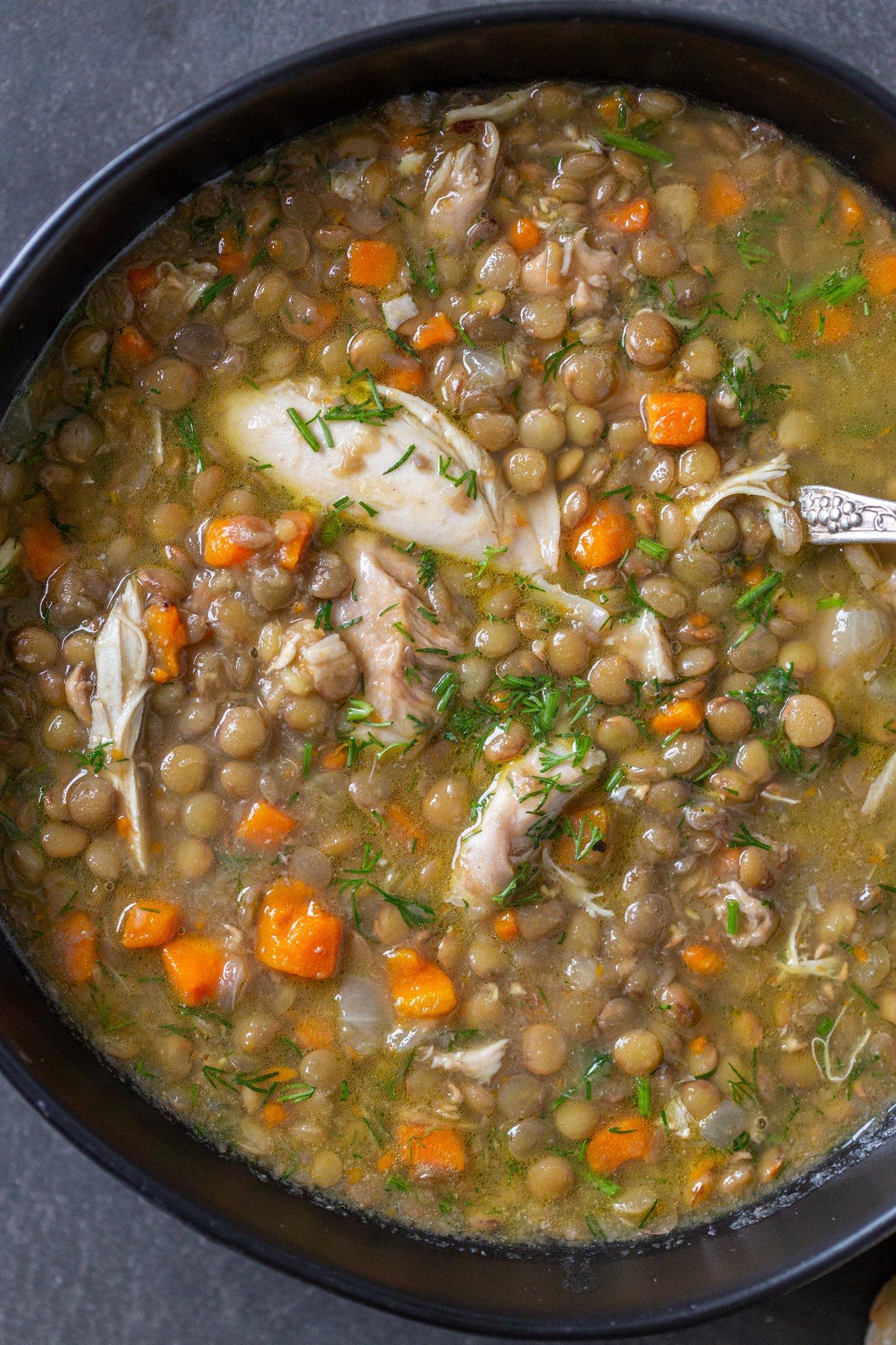 Lentil chicken soup in a bowl