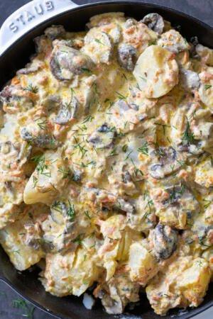 Cream Mushroom Potatoes in a pan