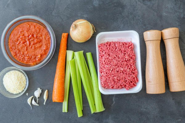 Ingredients for Beef Bolognese