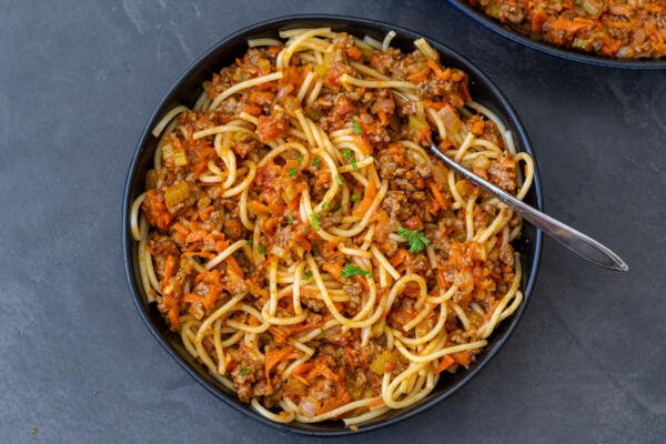 Beef Bolognese with noodles