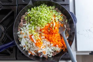 Beef and veggies in a pan