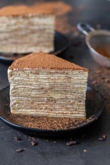a slice of a Tiramisu Crepe cake