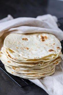 pile of tortillas in a towel