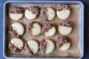 Dulce De Leche Sandwich Cookies on a baking sheet