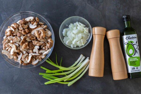 Ingredients for fried shitake mushrooms