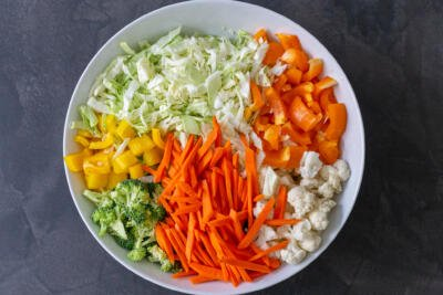 chopped vegetables in a bowl