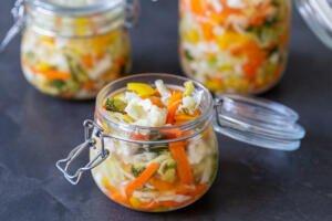 a jar of pickled vegetables