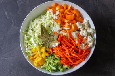 a large bowl with vegetables