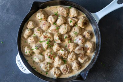 meatballs with gravy in a pan