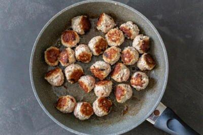 fried meatballs on a skillet