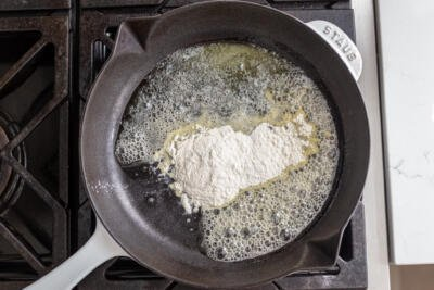 flour and butter on a skillet
