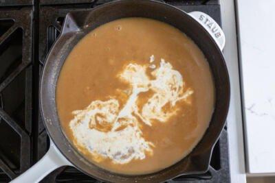 gravy in a pan
