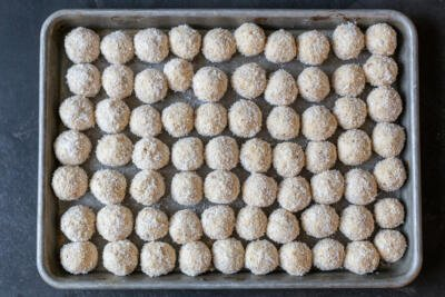 Raffaello candy on a baking sheet